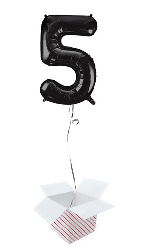 Black Number 5 Helium Foil Giant Balloon - Inflated Balloon in a Box