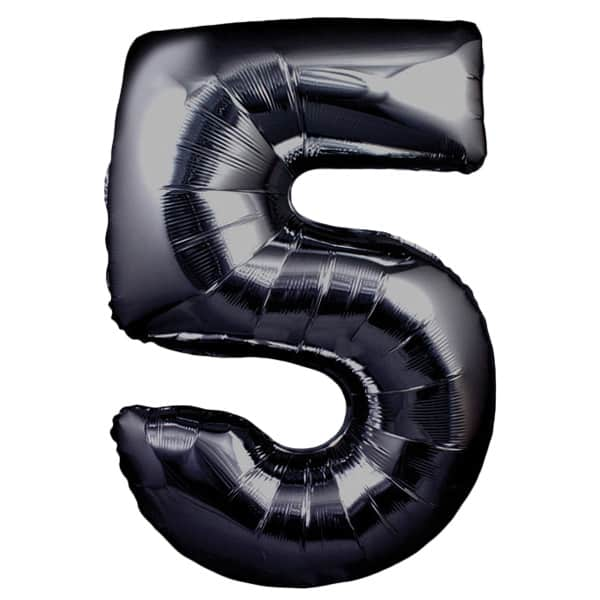Black Number 5 Helium Foil Giant Balloon 76cm / 30 in Product Image