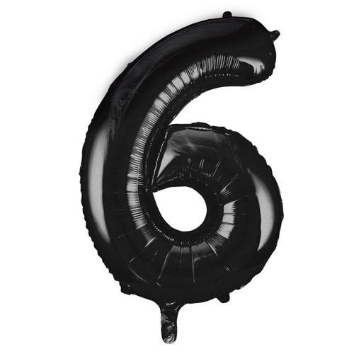 Black Number 6 Helium Foil Giant Balloon 86cm / 34 in Product Image