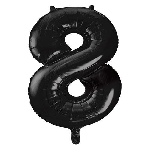 Black Number 8 Helium Foil Giant Balloon 86cm / 34 in Bundle Product Image