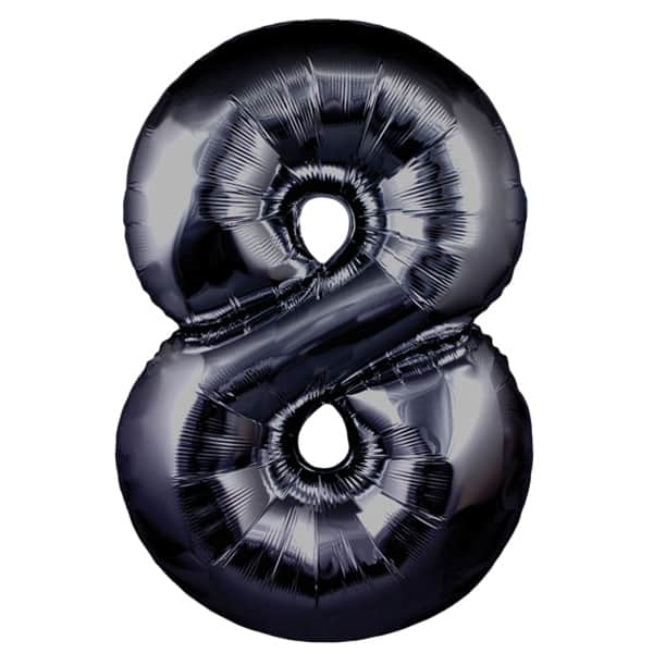 Black Number 8 Helium Foil Giant Balloon 76cm / 30 in Product Image