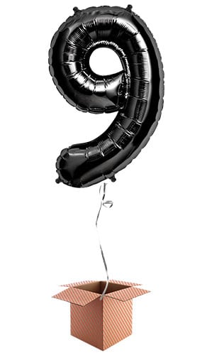 Black Number 9 Helium Foil Giant Balloon - Inflated Balloon in a Box Product Image