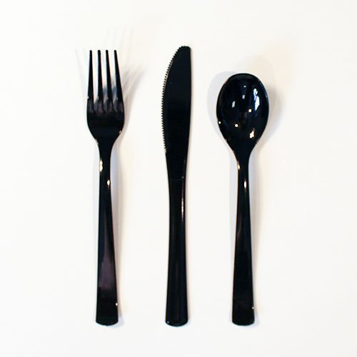 Black Plastic Assorted Cutlery Set - Pack of 18