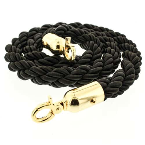 Black Braided Rope with Brass Hooks Product Image