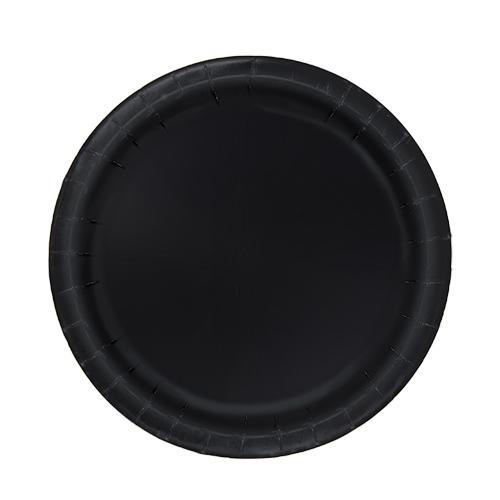 Black Round Paper Plates 17cm - Pack of 20