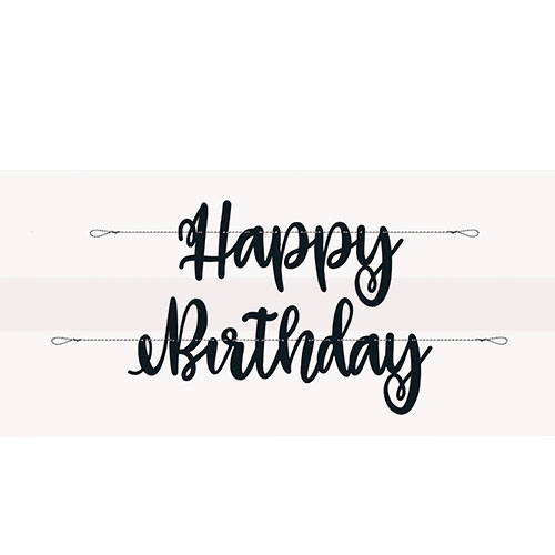Black Script Happy Birthday Cardboard Letter Banner 213cm