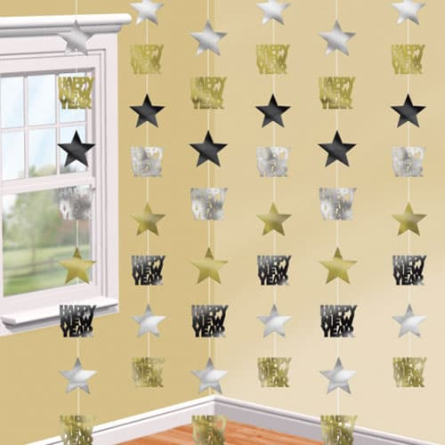 Black Silver and Gold Happy New Year Star String Decoration - Pack of 6