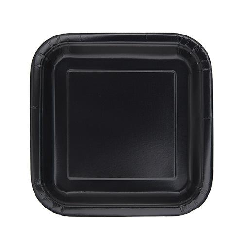Black Square Paper Plates 17cm - Pack of 16