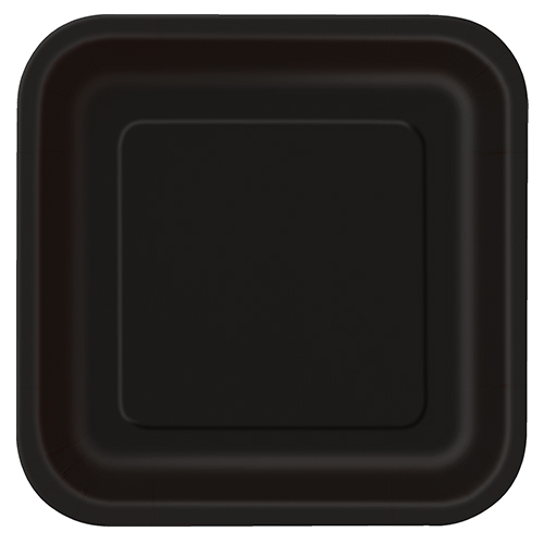 Black Square Paper Plates 22cm - Pack of 14 Product Image