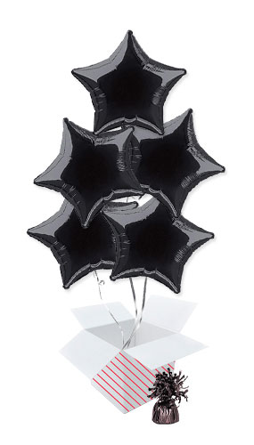 Black Star Foil Helium Balloon Bouquet - 5 Inflated Balloons In A Box Product Image