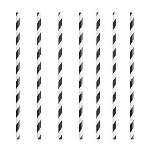 Black Striped Eco-Friendly Paper Straws - Pack of 10 Product Image