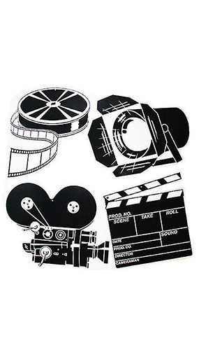 Black & White Movie Set Assorted Decorative Cutouts - 16 Inches / 41cm - Pack of 4 Product Image