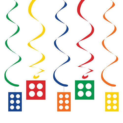 Block Party Dizzy Danglers Swirl Hanging Decorations - Pack of 5 Product Image