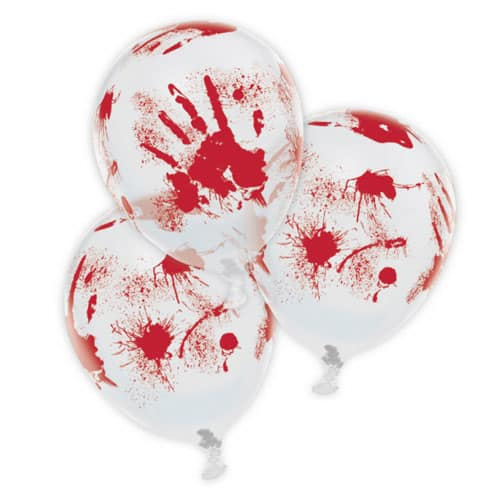 Bloody Hands Printed Latex Balloons - Pack of 6 Product Image