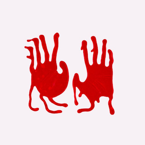 Bloody Hands Halloween Gel Stickers Window Decorations - Pack of 2 Product Image