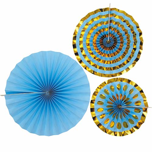Blue & Gold Pinwheel Fan Hanging Decorations - Pack of 3 Product Image