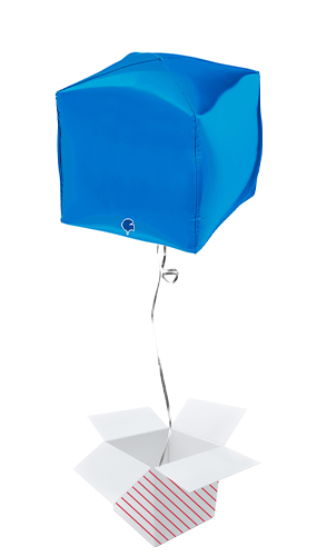 Blue 4D Square Shape Foil Helium Balloon - Inflated Balloon in a Box Product Image