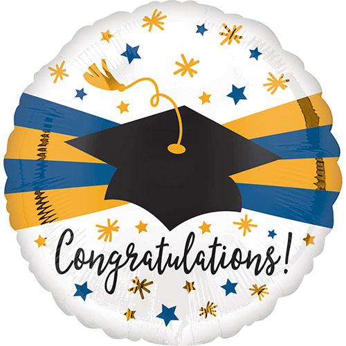 Blue & Gold Congratulations Graduation Cap Round Foil Helium Balloon 43cm / 17 in