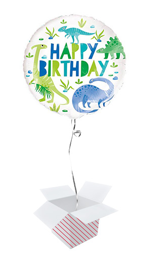 Blue & Green Dinosaur Happy Birthday Round Foil Helium Balloon - Inflated Balloon in a Box