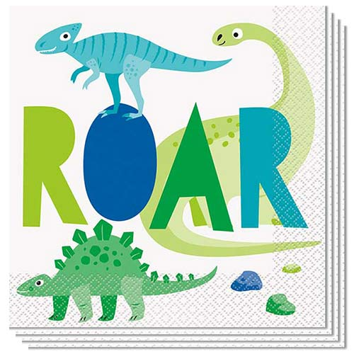 Blue & Green Dinosaur Luncheon Napkins 33cm 2Ply - Pack of 16 Bundle Product Image