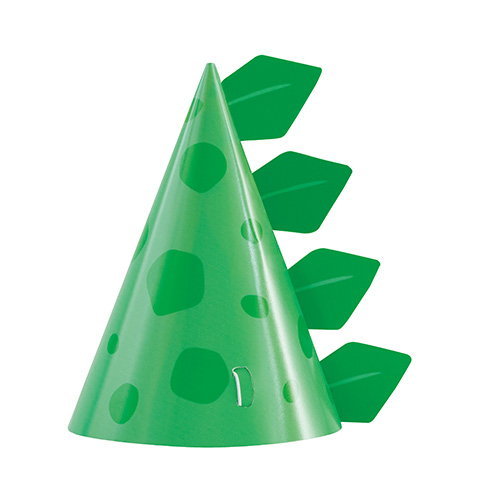 Blue & Green Dinosaur Party Cone Hats - Pack of 8