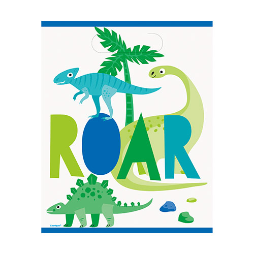 Blue & Green Dinosaur Party Loot Bags - Pack of 8