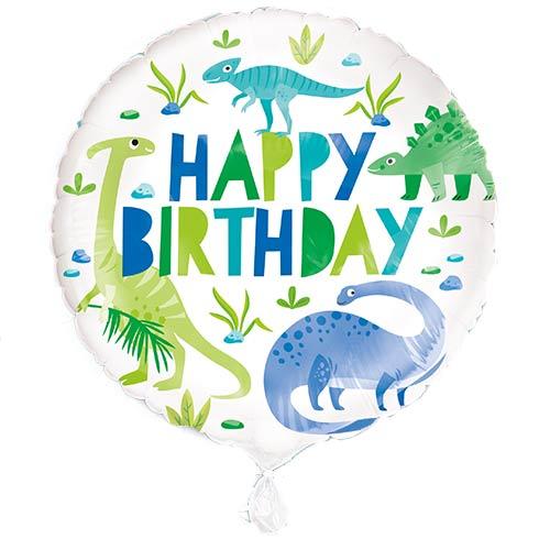 Blue & Green Dinosaur Happy Birthday Round Foil Helium Balloon 46cm / 18 in