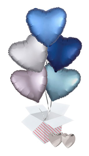 Blue Assortment Valentine's Day Hearts Foil Helium Balloon Bouquet - 5 Inflated Balloons In A Box Product Image