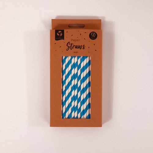 Blue Biodegradable Paper Straws - Pack of 50 Product Gallery Image
