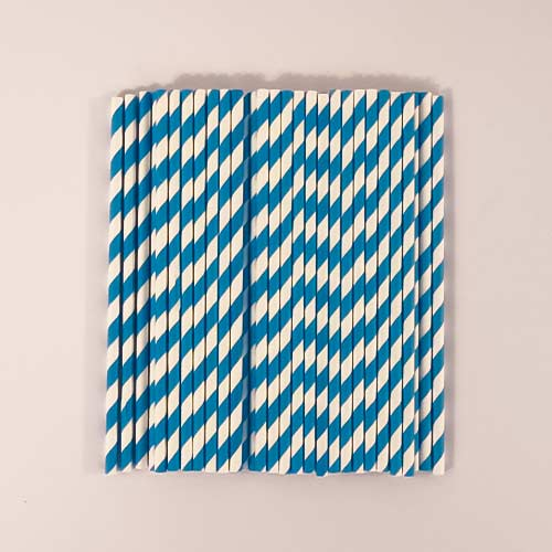 Blue Biodegradable Paper Straws - Pack of 50 Product Image