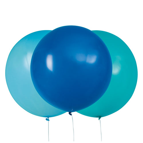 Blue & Caribbean Teal Jumbo Biodegradable Latex Balloons 61cm / 24 in - Pack of 3 Product Image