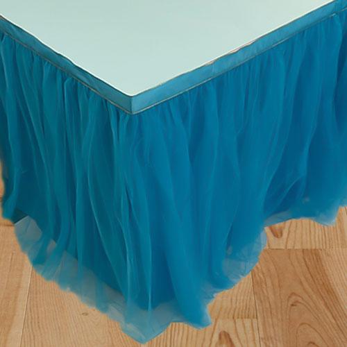 Blue Deluxe Tulle Table Skirt 180cm x 80cm