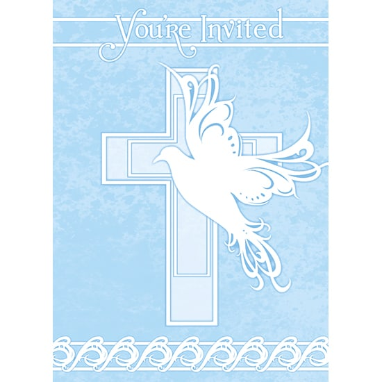 Blue Dove Cross Invitations with Envelopes - Pack of 8