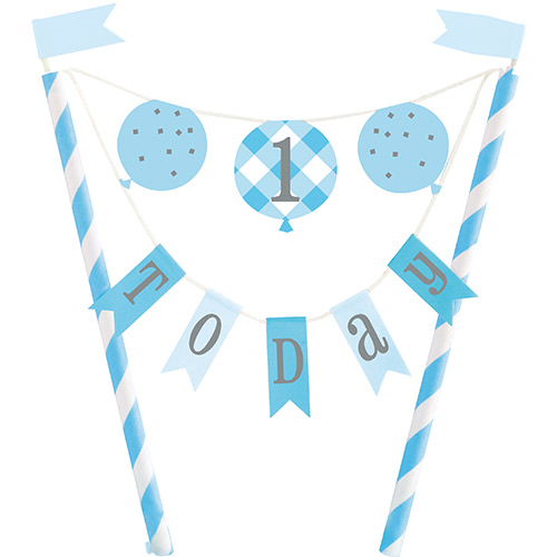 Blue Gingham First Birthday 1 Today Bunting Cake Topper 21cm Product Image