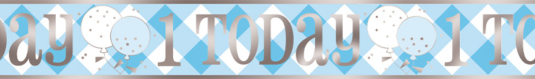 Blue Gingham First Birthday 1 Today Foil Banner 365cm