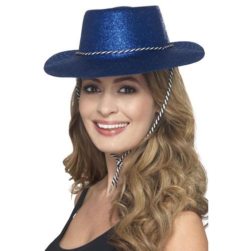 Blue Glitter Cowboy Hat Product Image