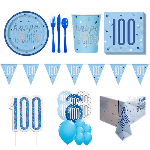 Blue Glitz 100th Birthday 16 Person Deluxe Party Pack