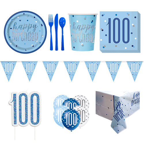 Blue Glitz 100th Birthday 8 Person Deluxe Party Pack
