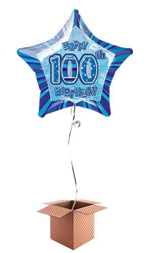 Blue Glitz 100th Birthday Prismatic Star Shape Foil Balloon - Inflated Balloon in a Box