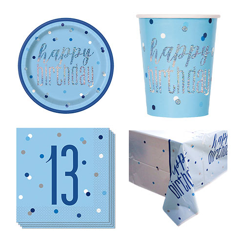 Blue Glitz 13th Birthday 8 Person Value Party Pack