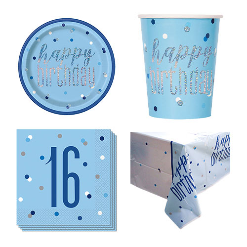 Blue Glitz 16th Birthday 8 Person Value Party Pack