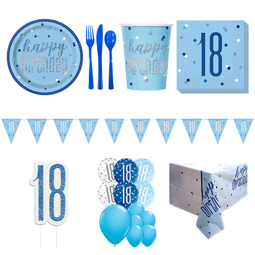 Blue Glitz 18th Birthday 16 Person Deluxe Party Pack