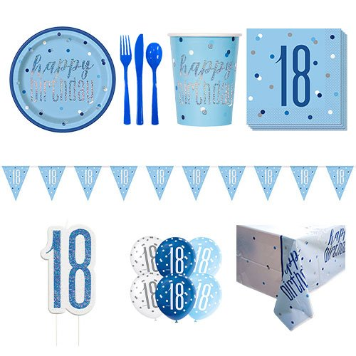 Blue Glitz 18th Birthday 8 Person Deluxe Party Pack Product Image