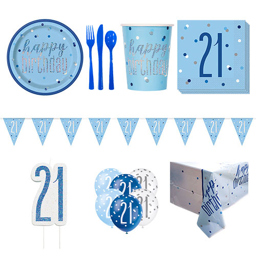 Blue Glitz 21st Birthday 8 Person Deluxe Party Pack