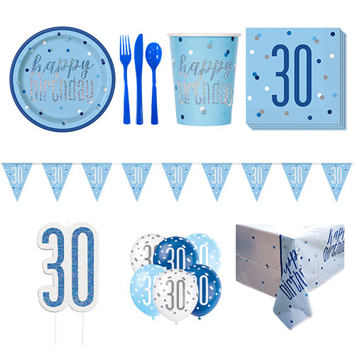 Blue Glitz 30th Birthday 8 Person Deluxe Party Pack