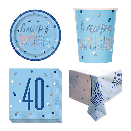Blue Glitz 40th Birthday 8 Person Value Party Pack