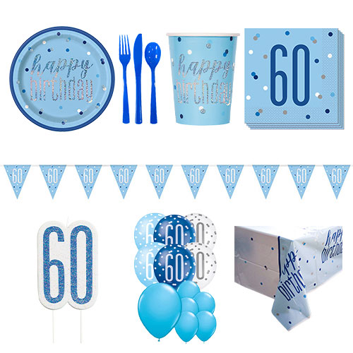 Blue Glitz 60th Birthday 16 Person Deluxe Party Pack