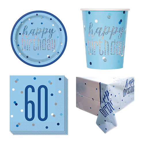 Blue Glitz 60th Birthday 8 Person Value Party Pack