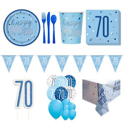 Blue Glitz 70th Birthday 16 Person Deluxe Party Pack