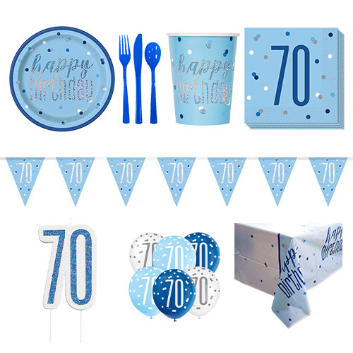 Blue Glitz 70th Birthday 8 Person Deluxe Party Pack